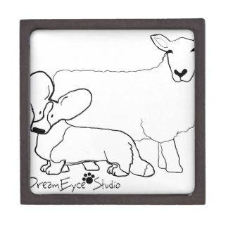 Cardi with a Sheep Standing Keepsake Box
