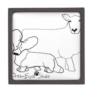 Cardi with a Sheep Standing Keepsake Box