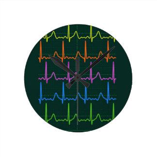 Cardiac Chevron Rainbow Round Clock