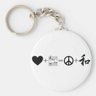 CARDIAC Love+Music=Peace+Harmony Basic Round Button Keychain