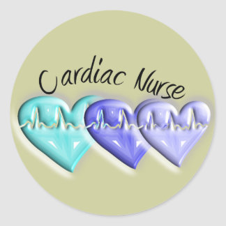 Cardiac Nurse 3D Blue Hearts Gifts Classic Round Sticker