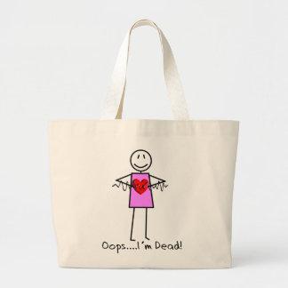 Cardiac Nurse Gifts Stick Person Design V-Fib Large Tote Bag