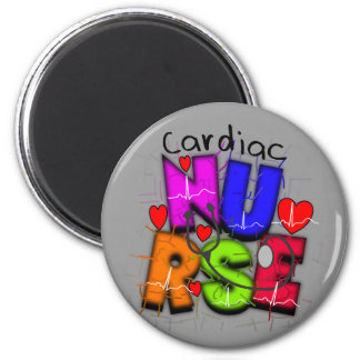 Cardiac Nurse Gifts--Unique Cardiac Design 2 Inch Round Magnet