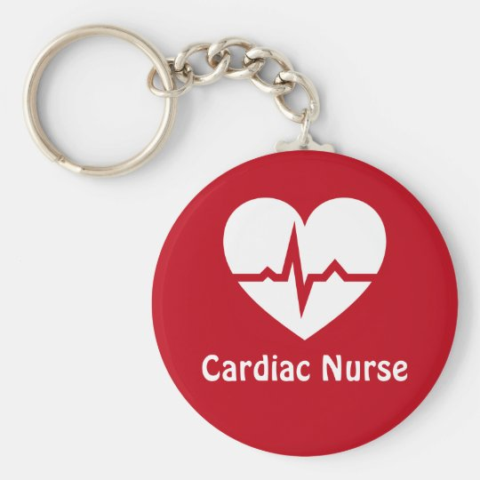 cardiac nurse heart with ecg wave red keychain zazzle com