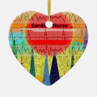 Cardiac Nurse Magical Forest Double-Sided Heart Ceramic Christmas Ornament