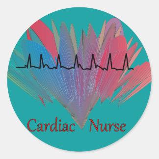 Cardiac Nurse QRS Design Classic Round Sticker