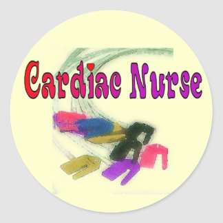 Cardiac Nurse Watercolor Art Gifts Classic Round Sticker