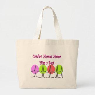 Cardiac Nurses NEVER Miss a Beat! Large Tote Bag