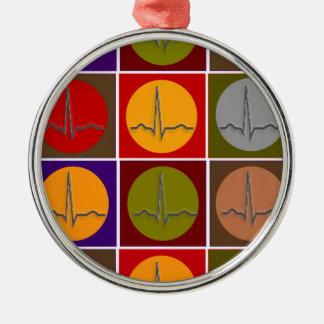 Cardiac QRS Pop Art Metal Ornament