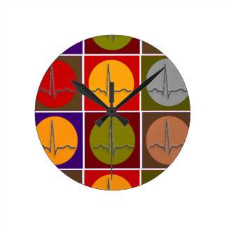 Cardiac QRS Pop Art Round Clock