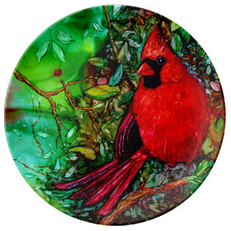 Cardianl In the Tree Porcelain Plate