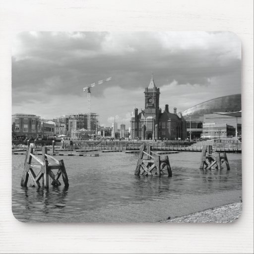 Cardiff Bay, Cardiff, Wales - Black and White Mouse Pad