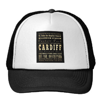 Cardiff City United Kingdom Typography Art Trucker Hat