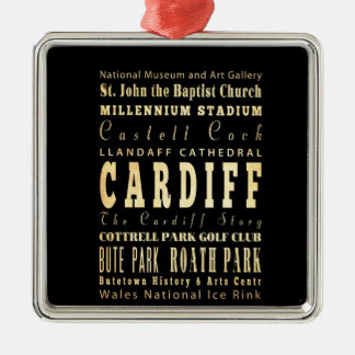 Cardiff City United Kingdom Typography Art Square Metal Christmas Ornament