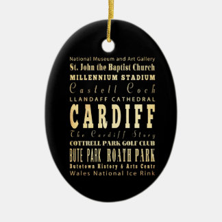 Cardiff City United Kingdom Typography Art Double-Sided Oval Ceramic Christmas Ornament