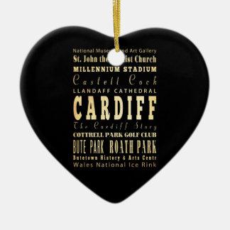 Cardiff City United Kingdom Typography Art Double-Sided Heart Ceramic Christmas Ornament