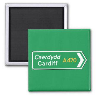 Cardiff, señal de tráfico BRITÁNICA Imán Cuadrado