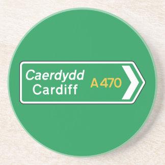 Cardiff, señal de tráfico BRITÁNICA Posavasos De Arenisca