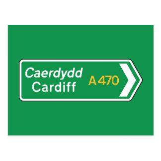Cardiff, señal de tráfico BRITÁNICA Tarjetas Postales