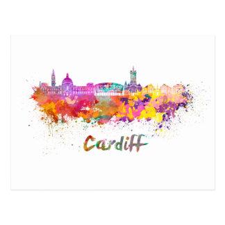 Cardiff skyline in watercolor postcard