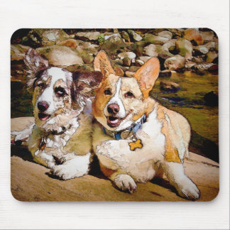 Cardigan and Pembroke Welsh Corgi Toon Mouse Pad
