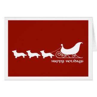 Cardigan Corgis Pulling Santa's Sleigh Card