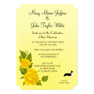 Cardigan Welsh Corgi and Yellow Roses Card