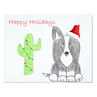Cardigan Welsh Corgi Black Cactus Christmas Card