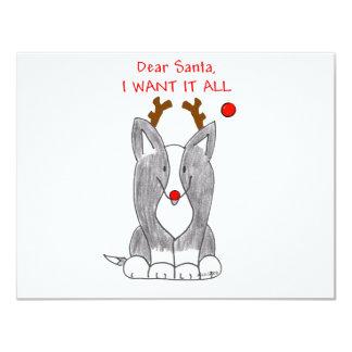 Cardigan Welsh Corgi Black Dear Santa Card