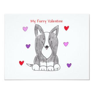 Cardigan Welsh Corgi Black Furry Valentine Card