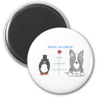 Cardigan Welsh Corgi Black Peace On Earth 2 Inch Round Magnet