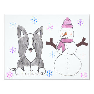 Cardigan Welsh Corgi Black & Snowman Card