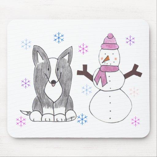 Cardigan Welsh Corgi Black & Snowman Mouse Pads