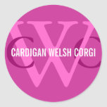 Cardigan Welsh Corgi Breed Monogram Classic Round Sticker