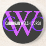 Cardigan Welsh Corgi Breed Monogram Sandstone Coaster