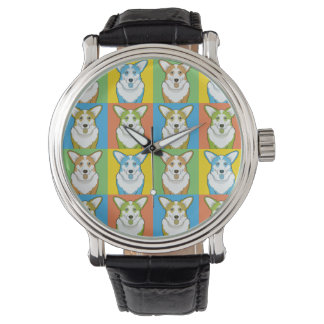 Cardigan Welsh Corgi Dog Cartoon Pop-Art Wrist Watch