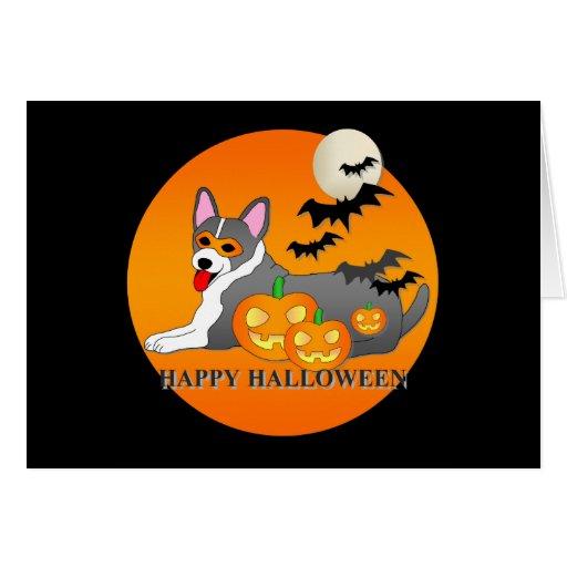 Cardigan Welsh Corgi Dog Halloween Greeting Card