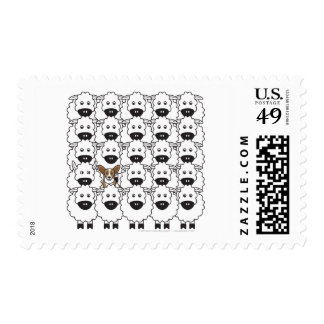 Cardigan Welsh Corgi in the Sheep Postage Stamps