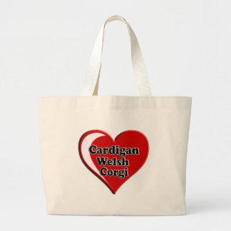 Cardigan Welsh Corgi on Heart for dog lovers Large Tote Bag
