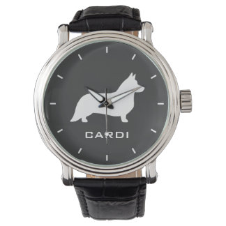 Cardigan Welsh Corgi Silhouette with Custom Text Watch