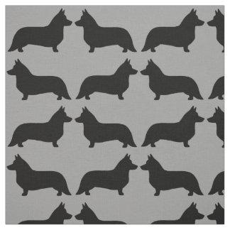 Cardigan Welsh Corgi Silhouettes Pattern Fabric