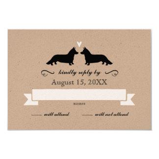 Cardigan Welsh Corgi Silhouettes Wedding RSVP Card