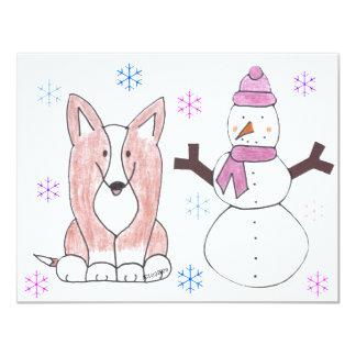Cardigan Welsh Corgi & Snowman Card
