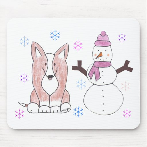 Cardigan Welsh Corgi & Snowman Mouse Pad