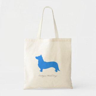 Cardigan Welsh Corgi Tote Bag (blue silhouette)