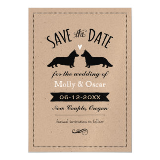 Cardigan Welsh Corgis Wedding Save the Date Magnetic Card