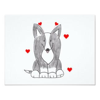 Cardigan Welsh Corig Black Valentine Ears Card