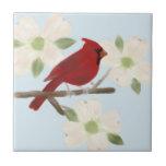 Cardinal and Dogwood Watercolor Ceramic Tile