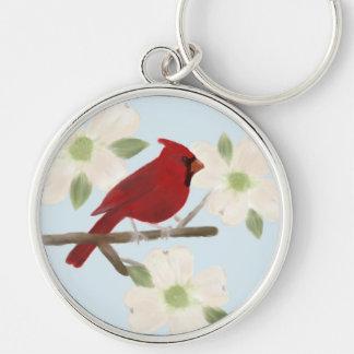 Cardinal and Dogwood Watercolor Keychain