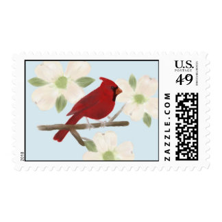 Cardinal and Dogwood Watercolor Postage